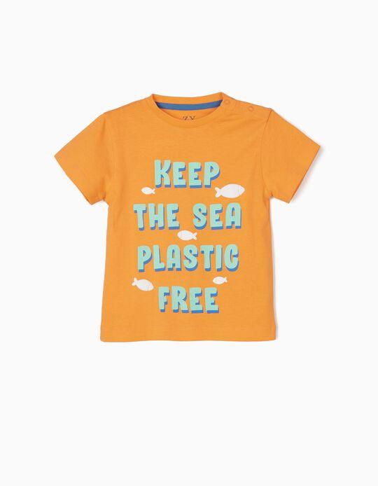 T-shirt para Bebé Menino 'Plastic Free', Laranja