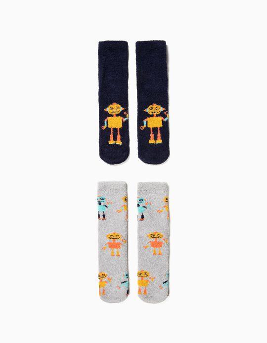 Pack 2 Calcetines Antideslizantes para Niño 'Robots', Azul y Gris