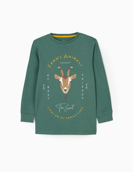 Camiseta de Manga Larga para Niño 'The Goat', Verde