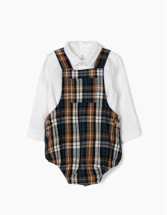 Macacão Xadrez e Body-Camisa para Recém-Nascido, Azul Escuro/Branco
