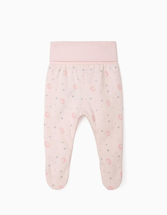 Footed Trousers for Newborn Baby Girls, 'WH', Pink