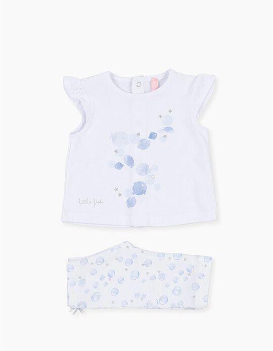 T-shirt e Leggings para Recém-Nascida LOSAN, Branco/Azul