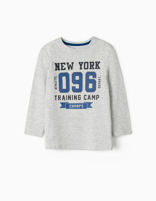 Camiseta de Manga Larga para Niño 'New York 096', Gris
