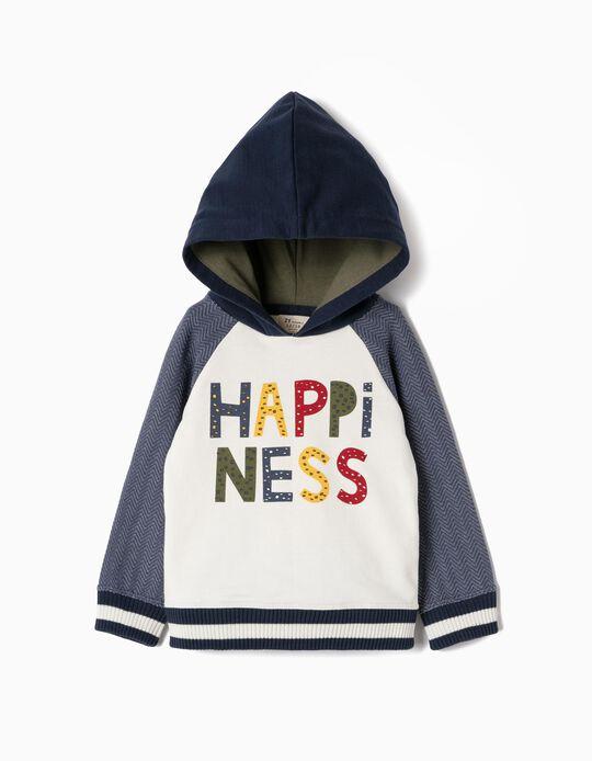 Sudadera para Bebé Niño 'Hapiness', Azul y Blanca