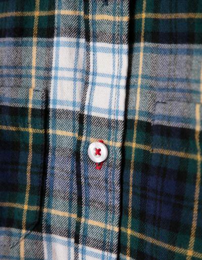 Camisa de Franela Ajedrez Azul