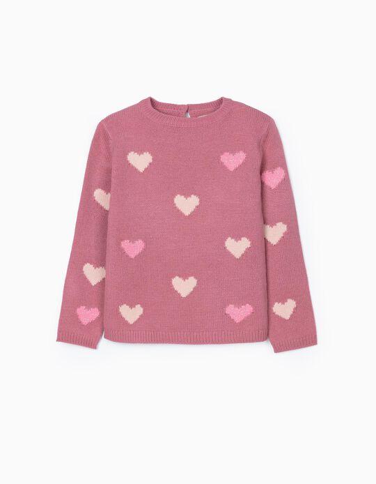 Camisola de Malha para Menina 'Hearts', Rosa