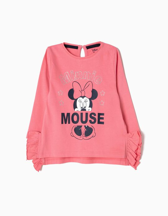Camiseta de Manga Larga Rosa Minnie