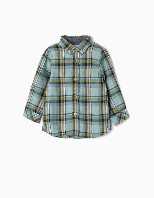 Camisa Ajedrez para Bebé Niño, Verde Agua