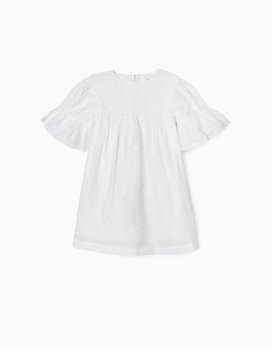 Dress with Embroideries for Girls, White