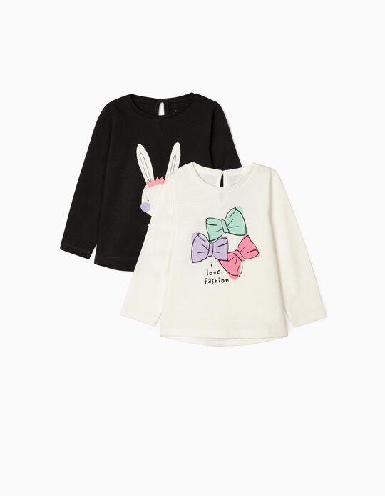 2 T-shirts Manga Comprida para Bebé Menina 'Fashion', Cinza/Branco