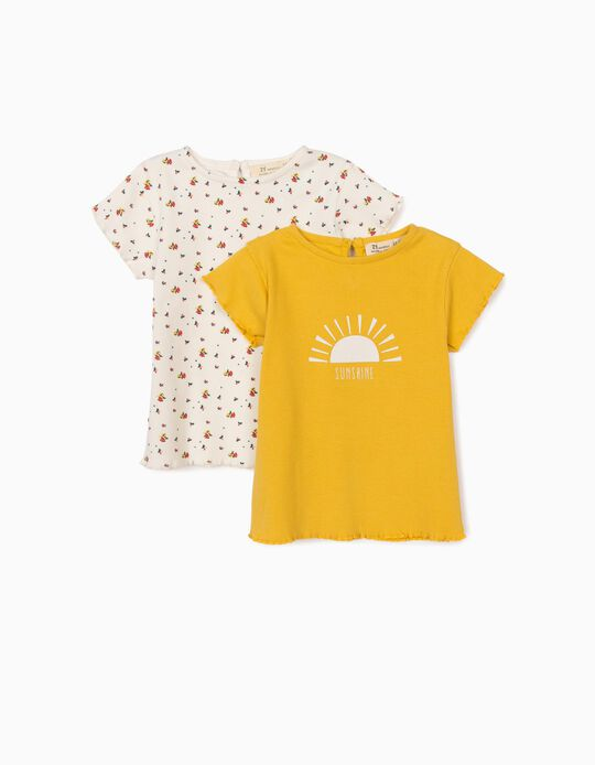 2 Rib Knit T-shirts for Baby Girls, 'Sunshine', Yellow/White