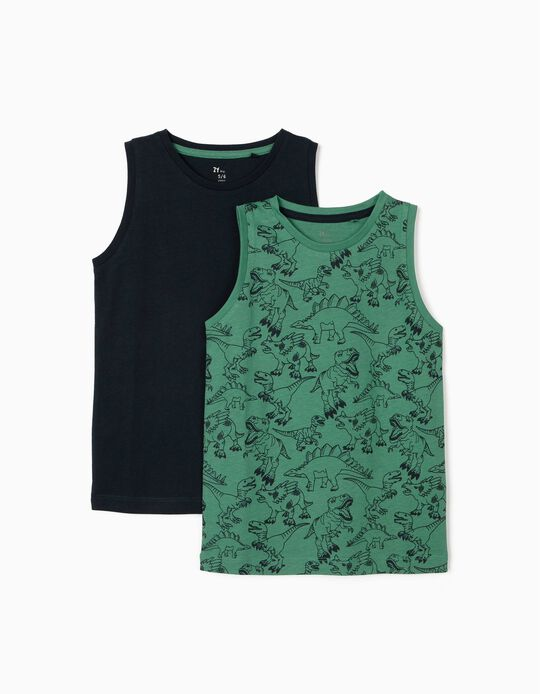 2 Tank Tops for Boys, Green/Dark Blue