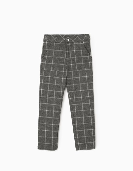 Plaid Trousers for Girls, Grey