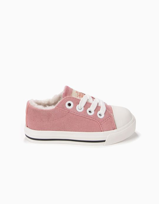 Pink Suede Trainers with Fur, ZY 50's