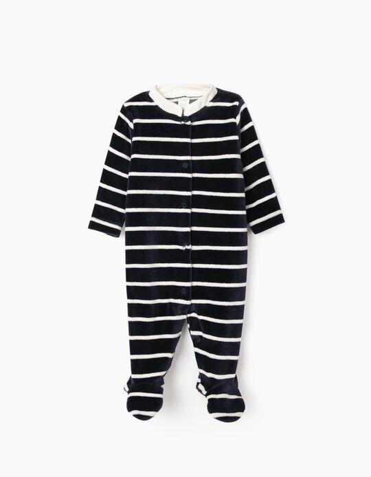 Babygrow Veludo para Recém-Nascido 'WH', Azul Escuro/Branco