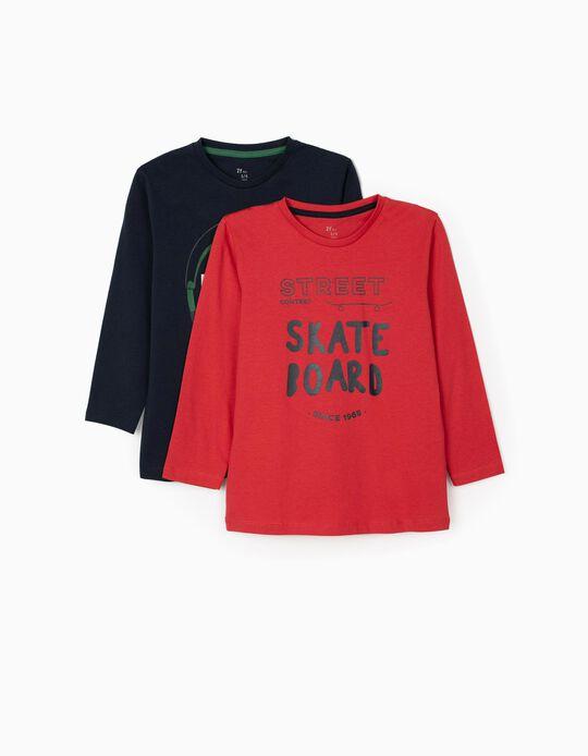 2 T-shirts manches longues garçon 'Play', bleu/rouge