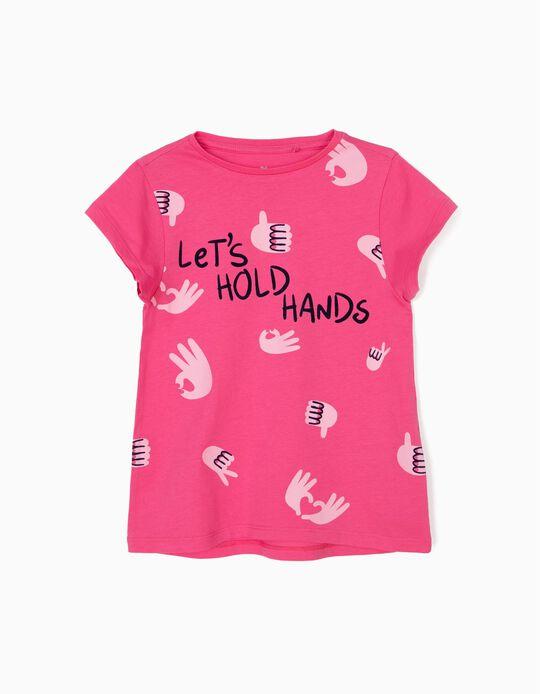 T-shirt para Menina 'Hold Hands', Rosa