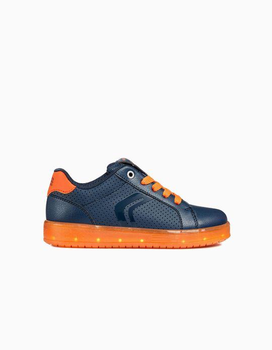 Zapatillas Geox Azules y Naranja con Luces LED