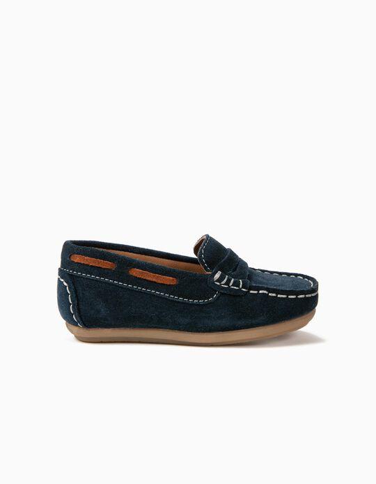 Zapatos de Ante para Bebé Niño 'Loafers', Azul Oscuro