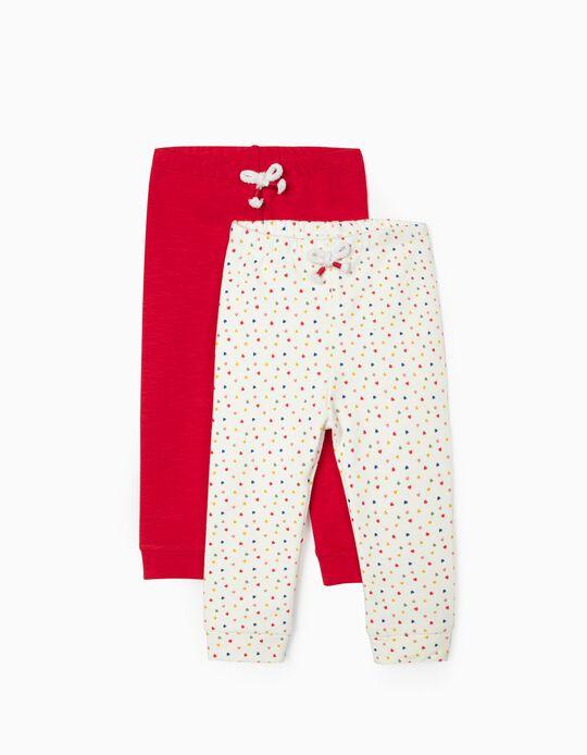 2 Calças para Bebé Menina 'Hearts', Branco/Vermelho