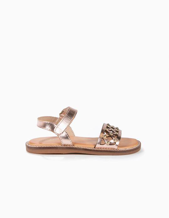 Sandálias de Pele Perfuradas para Menina com Tachas, Bronze