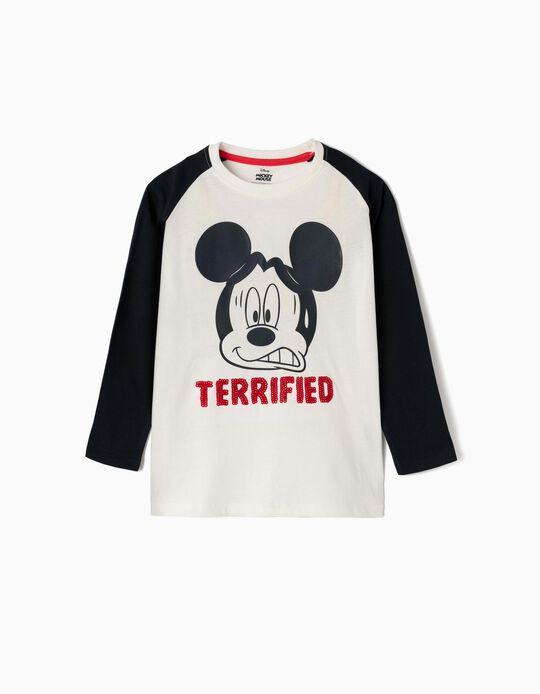 T-shirt Manga Comprida para Menino 'Terrified Mickey', Branco e Azul