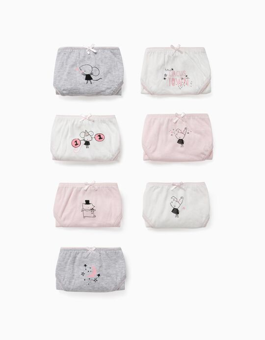7 Briefs for Girls, 'Circus', White/Pink/Grey
