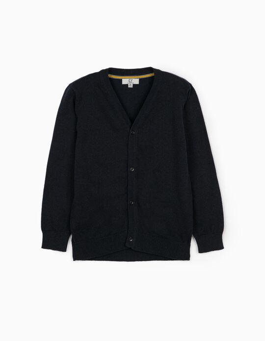 Cardigan with Elbow Patches for Boys, Dark Blue
