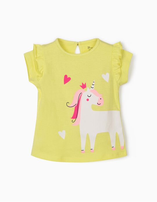T-Shirt for Baby Girls 'Unicorn', Lime Yellow