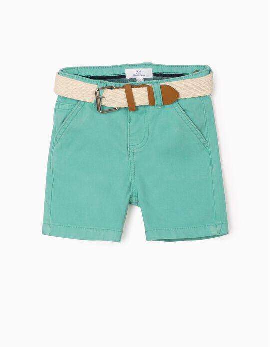 Short con Cinturón para Bebé Niño, Verde