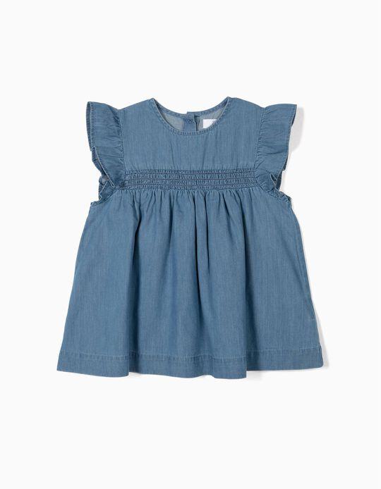 Blusa Denim para Menina, Azul