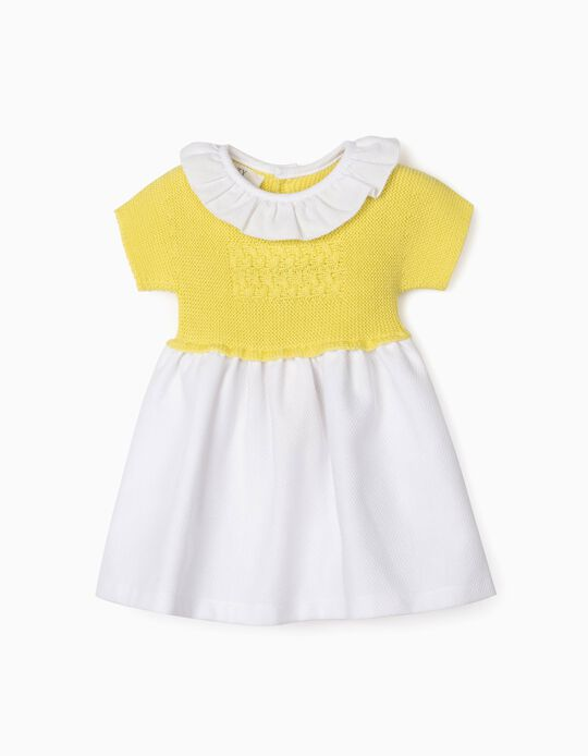 Dual Fabric Dress for Newborn Baby Girls, Yellow/White