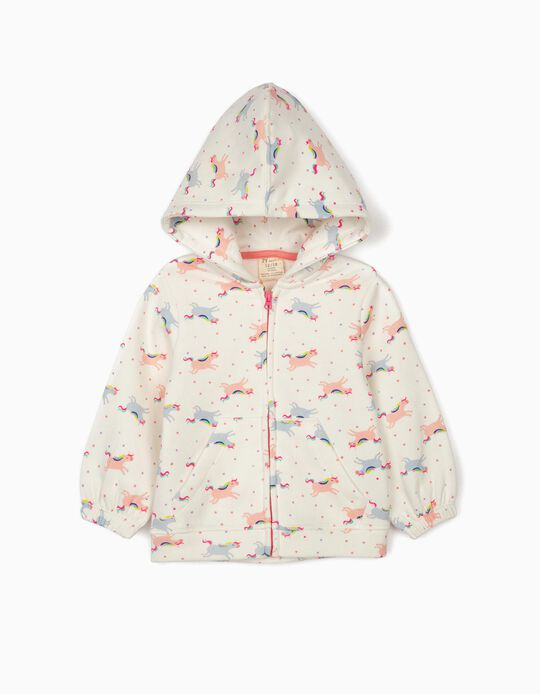 Hooded Jacket for Baby Girls 'Unicorns', White