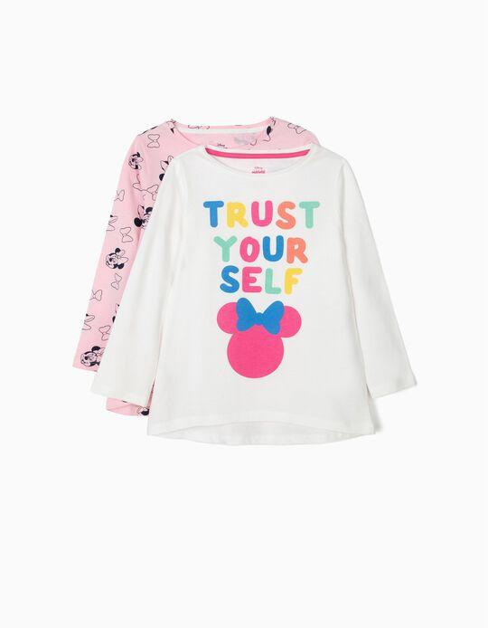 2 Camisetas de Manga Larga para Niña 'Minnie Trust Yourself', Blanco y Rosa