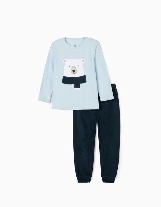 Polar Fleece Pyjamas for Boys 'Bear', Blue