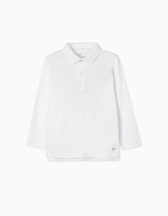 Long-Sleeved Polo Shirt for Boys, White