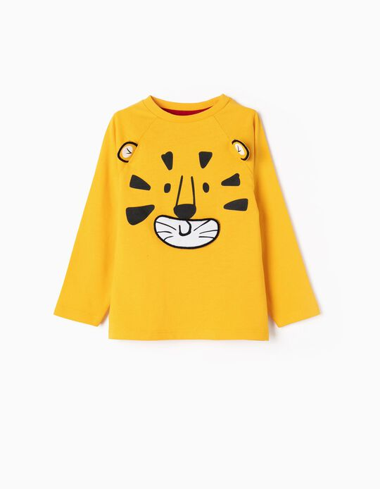 Camiseta de Manga Larga para Bebé Niño 'Rawr', Amarilla