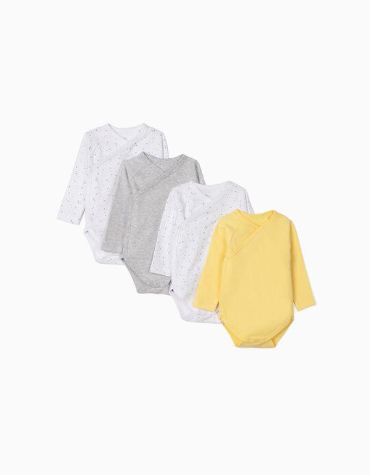 4 Bodysuits for Newborn Baby Boys, 'Stars', Grey/White/Yellow