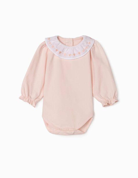 Long Sleeve Bodysuit for Newborn Baby Girls, 'Hearts', Pink