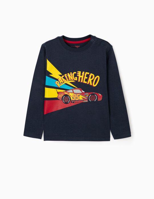 T-Shirt de Manga Comprida para Bebé Menino 'Racing Hero', Azul Escuro