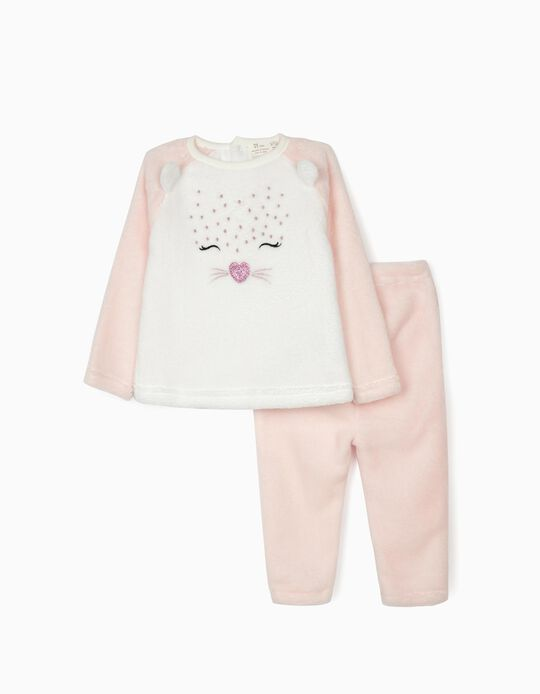 Minky Fabric Pyjamas for Baby Girls 'Cute Leopard', White/Pink