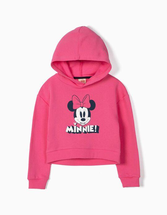 Sweatshirt Curta para Menina 'Minnie' com Capuz, Rosa