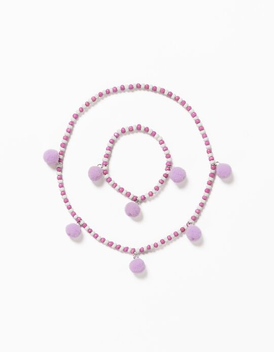 Necklace and Bracelet with Beads for Girls, White/Pink/Lilac