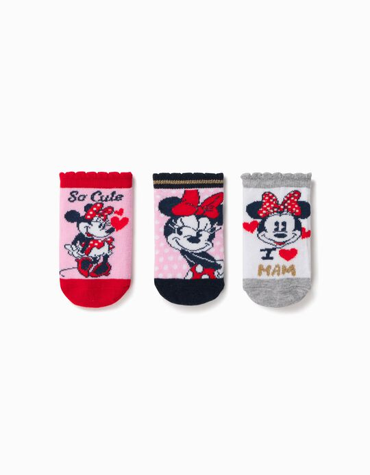 3 Pairs of Socks for Baby Girls, 'Minnie Mouse', Multicoloured