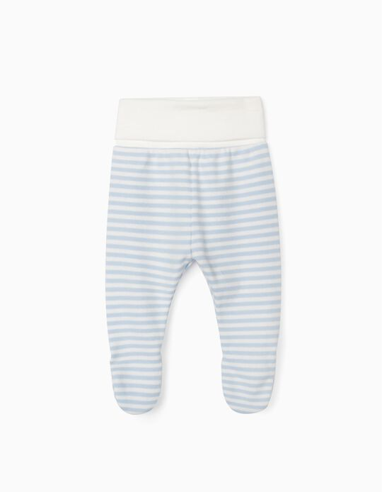Footed Trousers for Newborn Baby Boys, 'WH', Blue/White