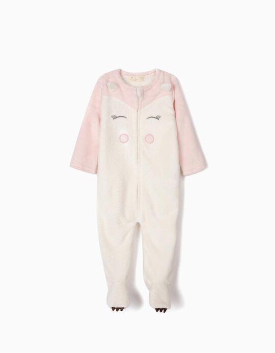Pijama Mono para Bebé Niña, Blanco/Rosa