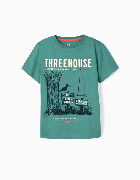 T-shirt para Menino 'Treehouse Club', Verde