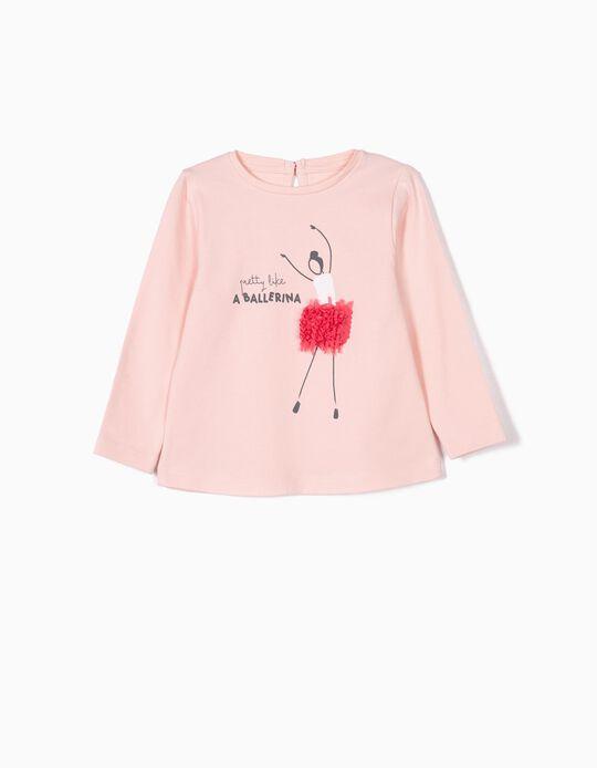 T-shirt Manga Comprida para Bebé Menina 'Ballerina', Rosa Claro