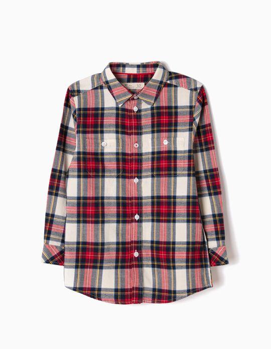 Camisa de Franela Ajedrez Rojo