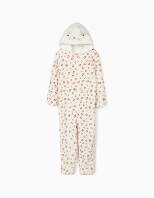 Pijama Mono para Niña 'Cute Leopard', Blanco
